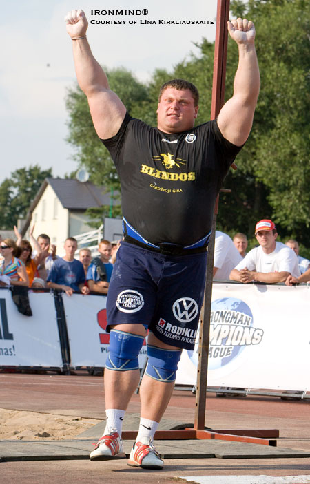 Zydrunas Savickas set a world record in the weight for height using a 25-kg beer keg, as well as a world record on the log lift this weekend at the Strongman Champions League Lithuanian Grand Prix. IronMind® | Photo courtesy of Lina Kirkliauskaite.
