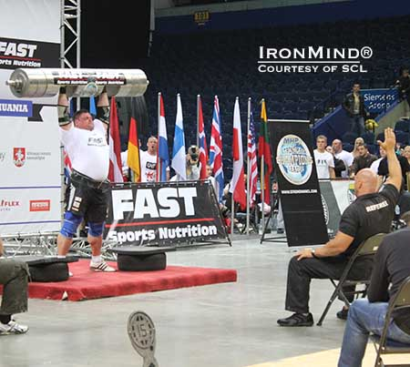 Long has Zydrunas Savickas dominated the log lift, and yesterday he pushed the world record to 222.5 kg.  IronMind® | Courtesy of SCL.
