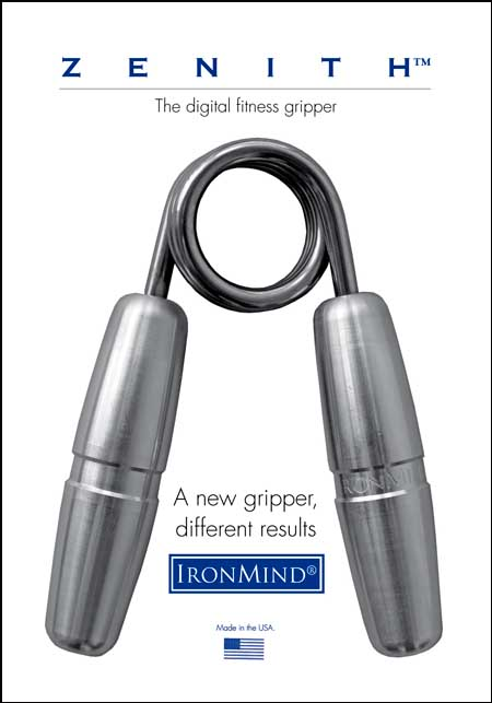 Zenith: The digital fitness gripper from IronMind.  A new look, a different feel and a fresh way to train your hands for grip strength and hand health.  Use with or without Captains of Crush grippers.